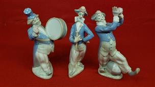 Rex Valencia 3pc Porcelain Musical Clown Figurines Very Good